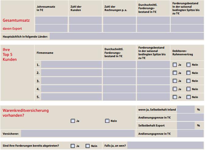Analysebogen Factoring der Deutschen Factoring Bank