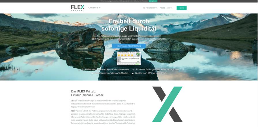 Startseitenansicht von Factoring Flexpayment.de