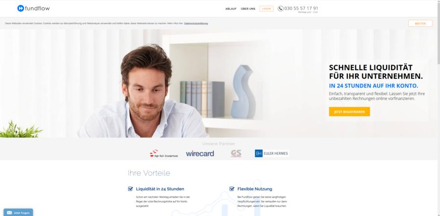 Startseitenansicht von Fundflow.de