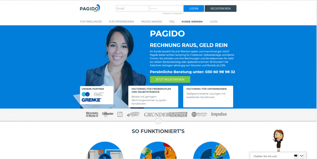 Startseitenansicht des Anbieters Pagido