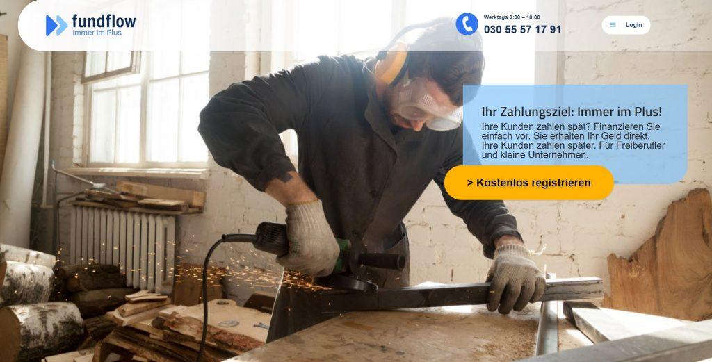Die Startseite von fundflow.de